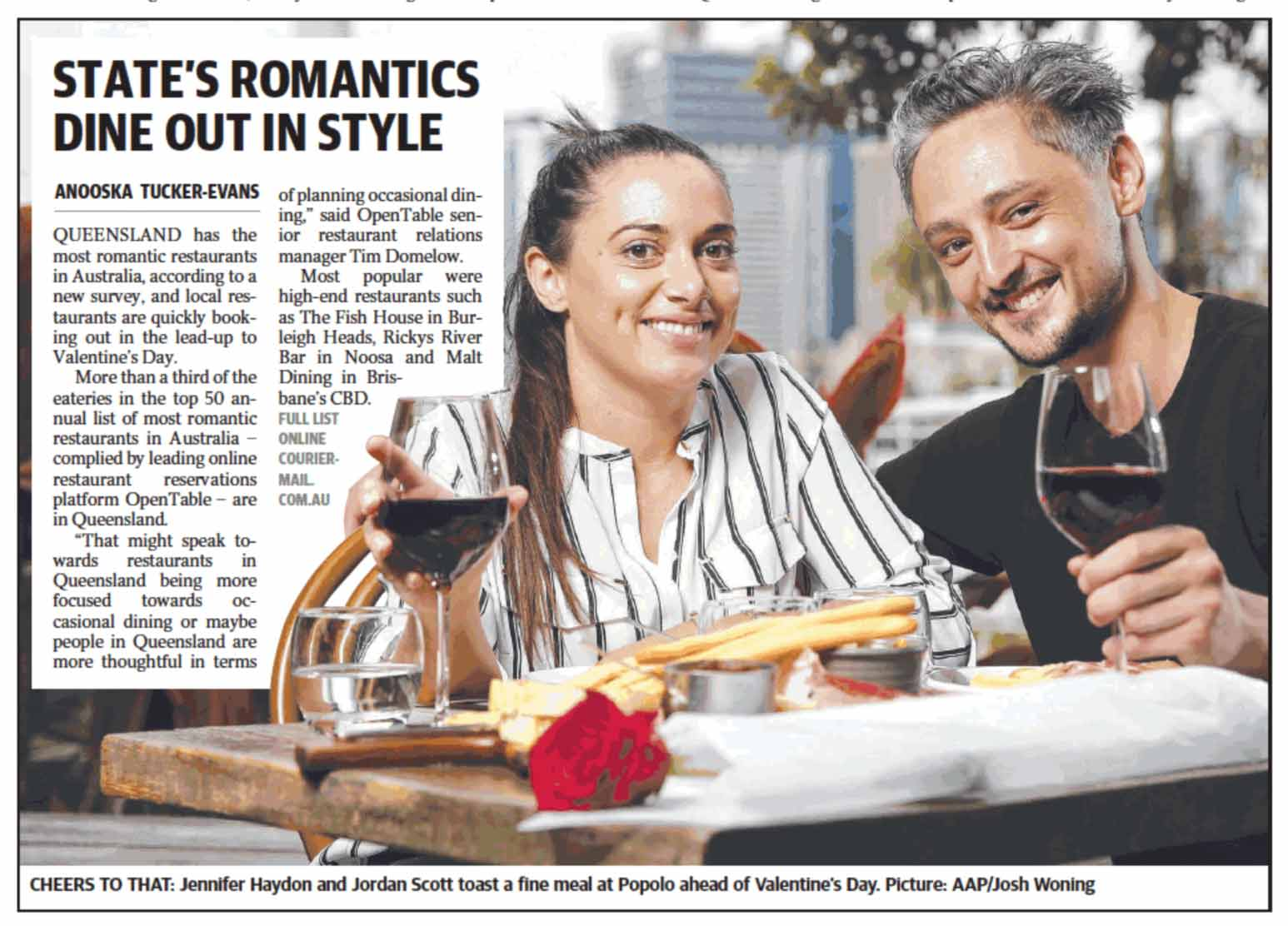 positive review of the fishhouse fine dining restaurant from courier mail